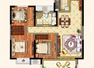 B户型(建筑面积:105㎡ 3室2厅1卫)