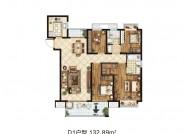 D1户型(建筑面积:132.89㎡ 4室2厅2卫)
