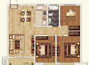 H户型 3室2厅1厨1卫